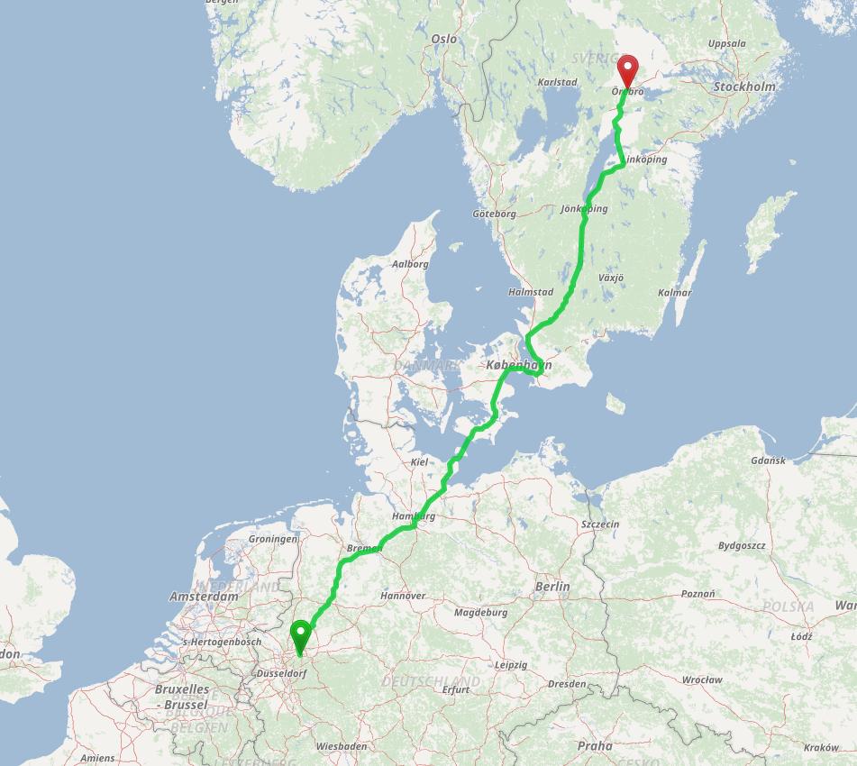 Örebro nach Bochum