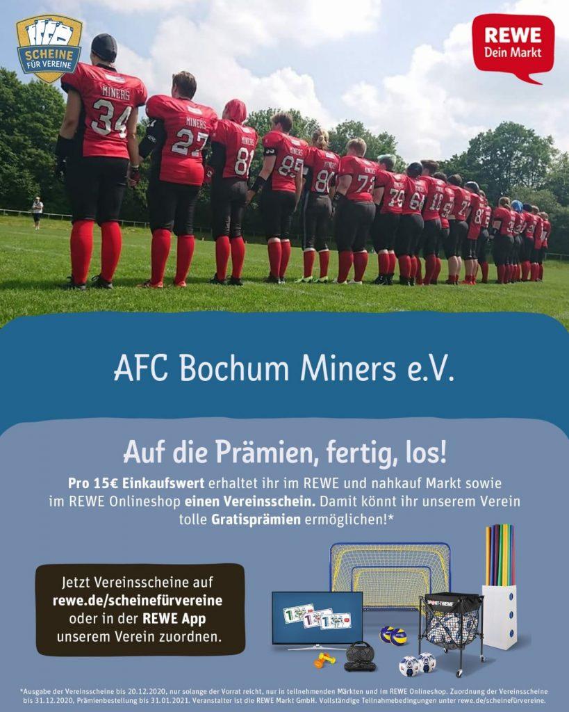 Die Bochum Miners sind bei der REWE Aktion Scheine für Vereine mit dabei